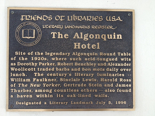 The Algonquin Hotel, New York City by OpenPlaques. CC by 2.0.