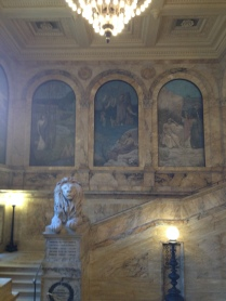 Murals and marble at the Boston Public Library.